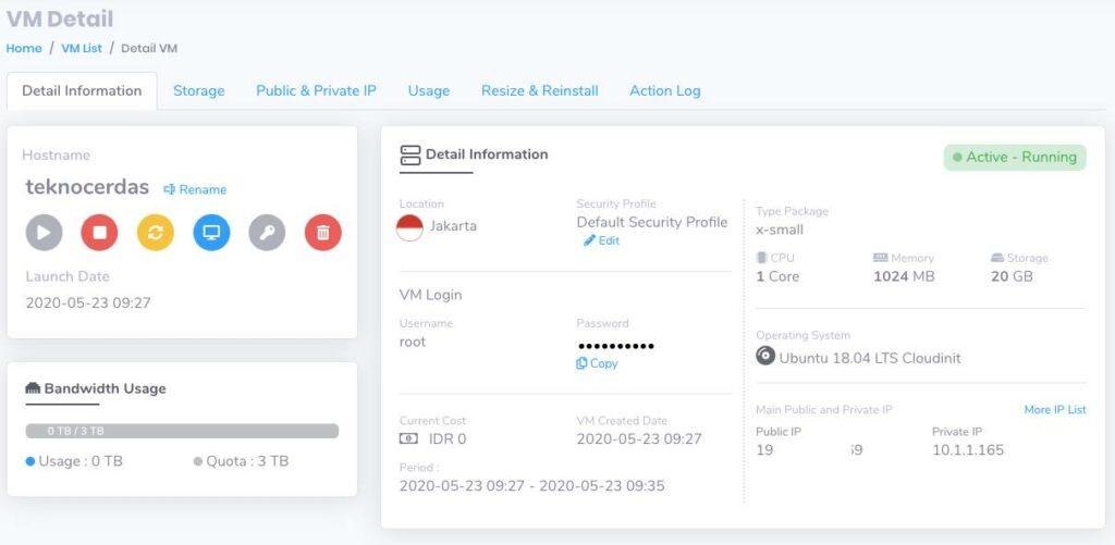 Informasi detail sebuah VM pada CloudRaya