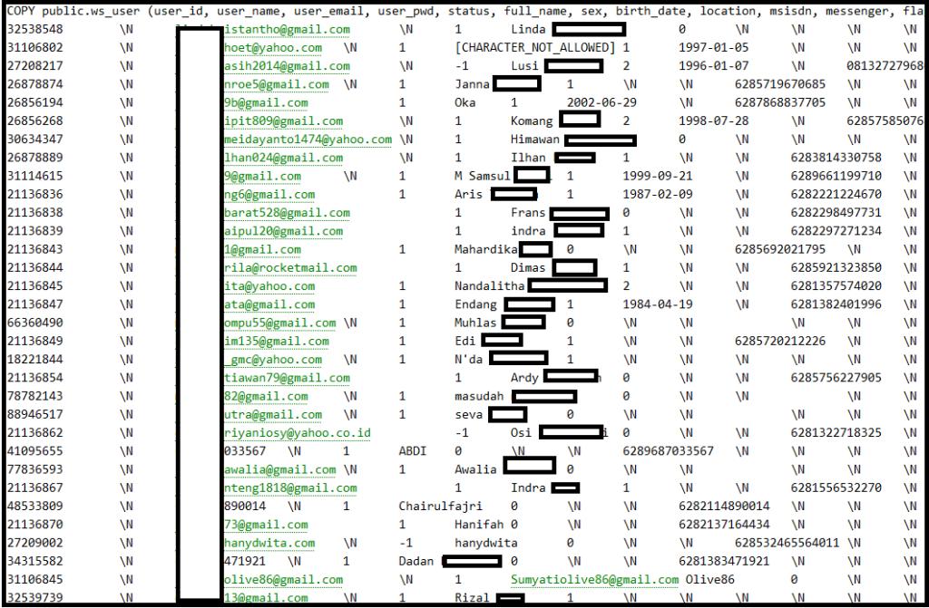 Database Tokopedia diretas