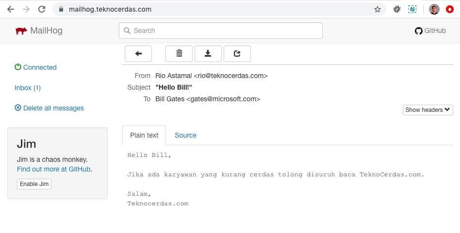 Melihat Email Masuk pada MailHog