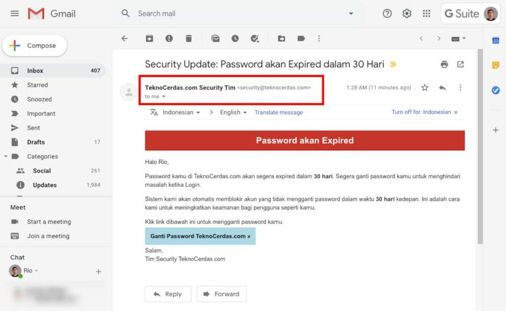 Email Penipuan: Contoh sebuah email phishing