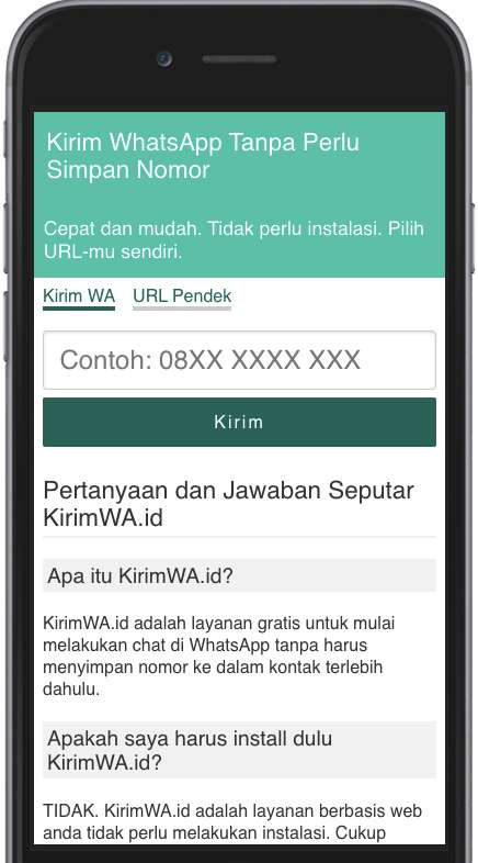Tampilan KirimWA.id