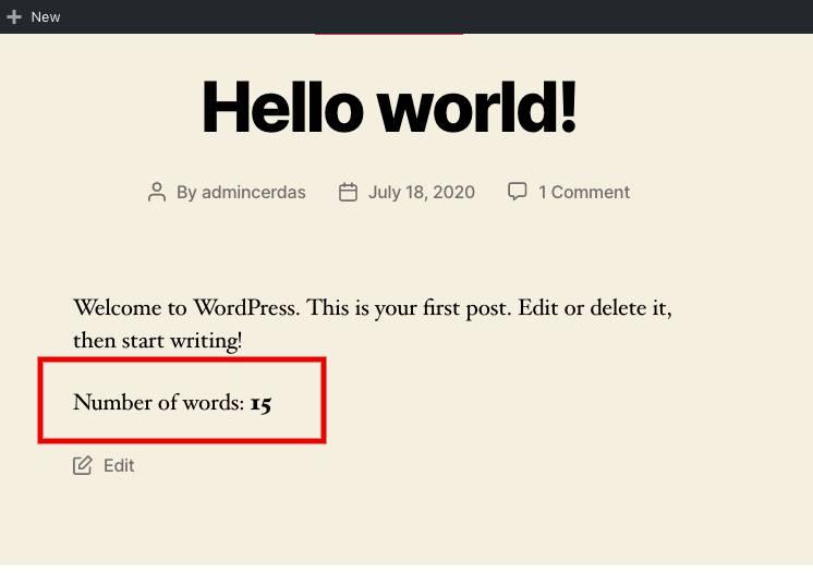 Uji coba WordPress plugin penghitung kata