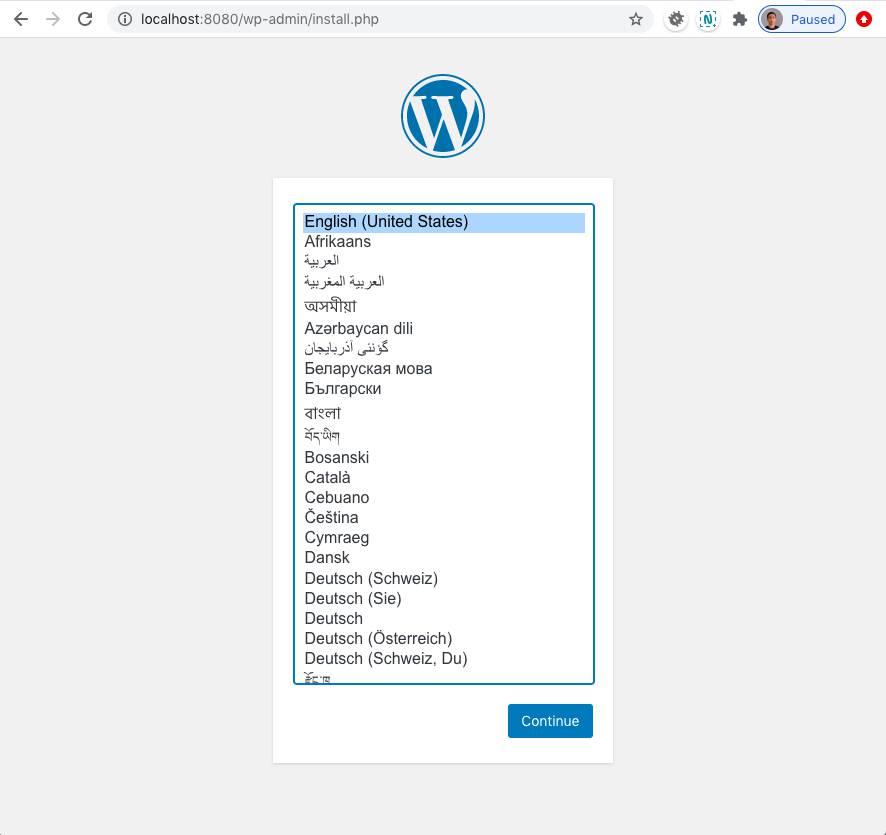 Menjalankan WordPress dengan Docker: Halaman Install