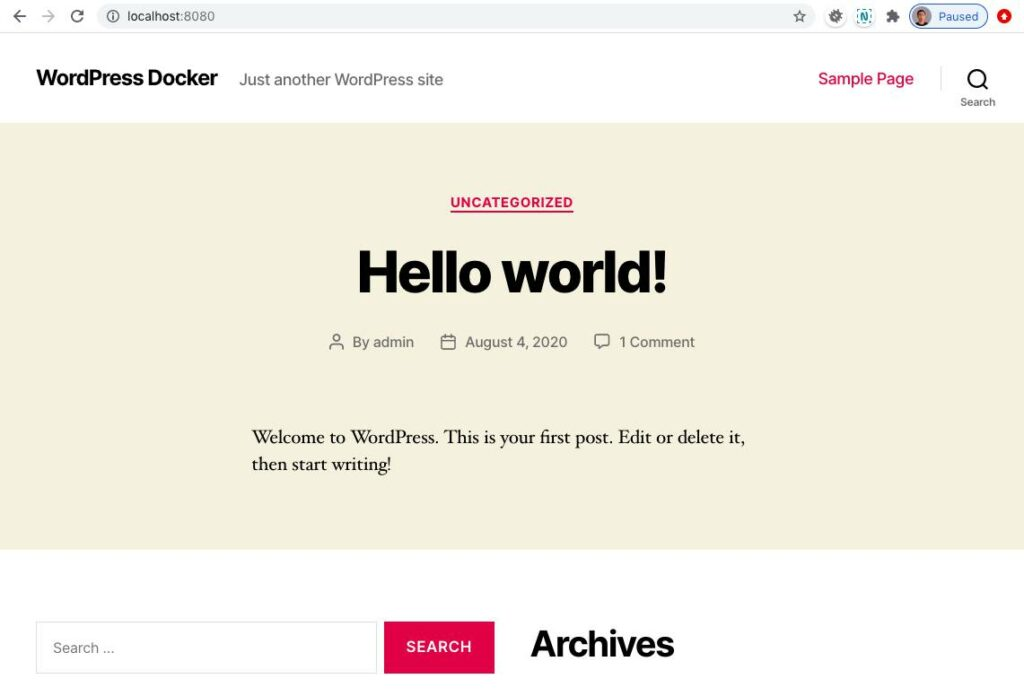 Menjalankan WordPress dengan Docker: Hello World