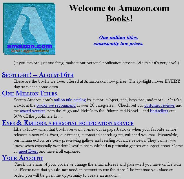 Website Amazon Tahun 1995