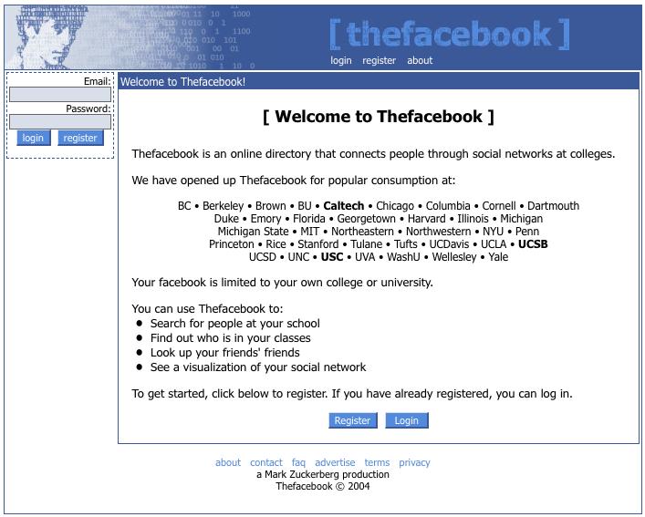 Tampilan website Facebook tahun 2004