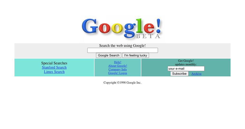 Tampilan website Google tahun 1998