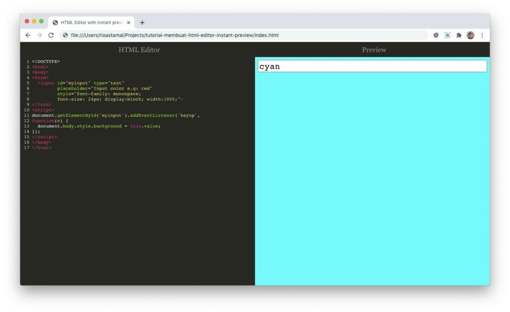 Tampilan HTML Editor dengan CodeMirror