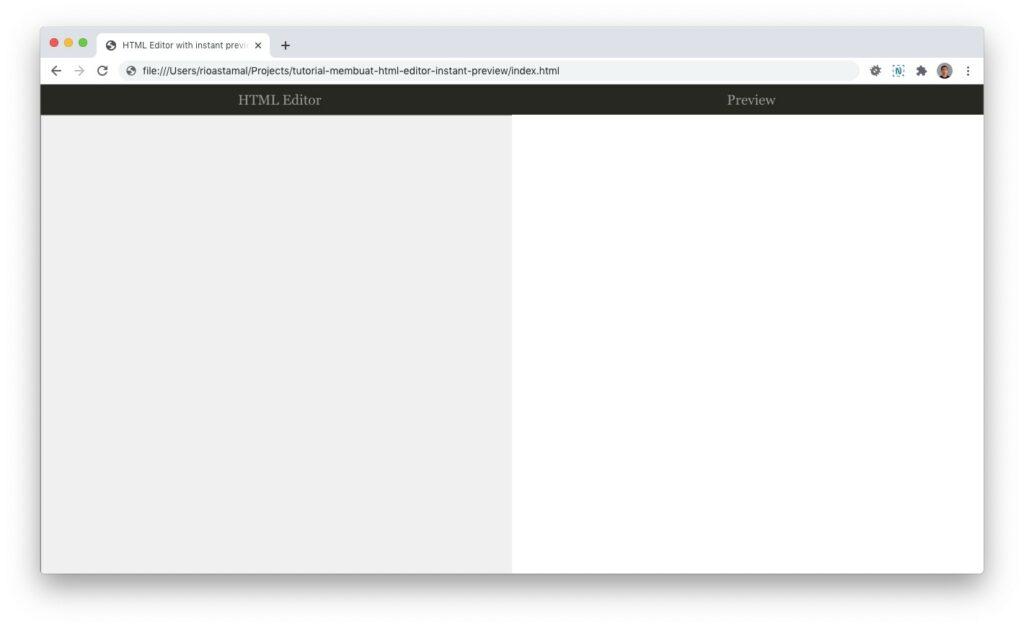 Tampilan HTML Editor dengan preview