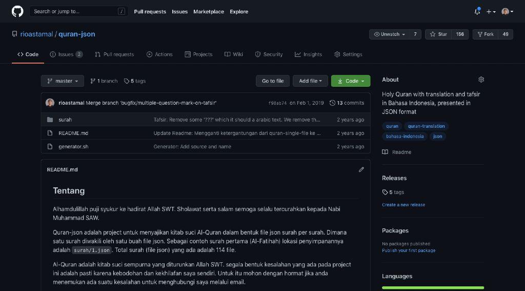 Contoh Tampilan GitHub Dark Mode