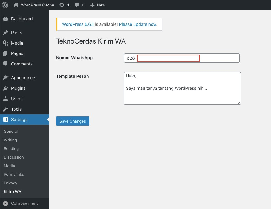 Konfigurasi WordPress Plugin Kirim WA