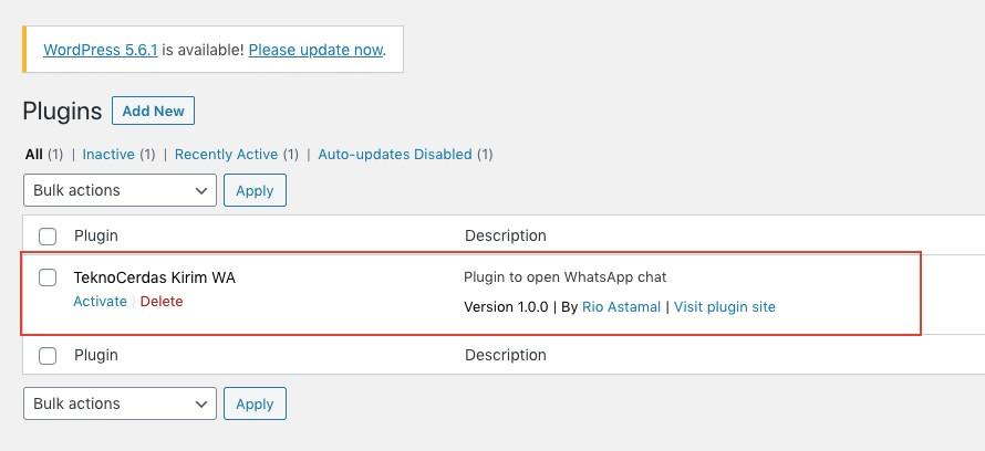 Aktivasi Plugin WordPress Kirim WA