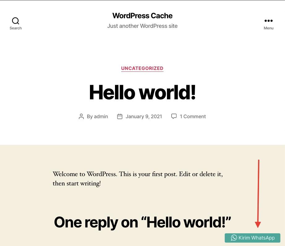 Tampilan tombol WordPress plugin Kirim WA