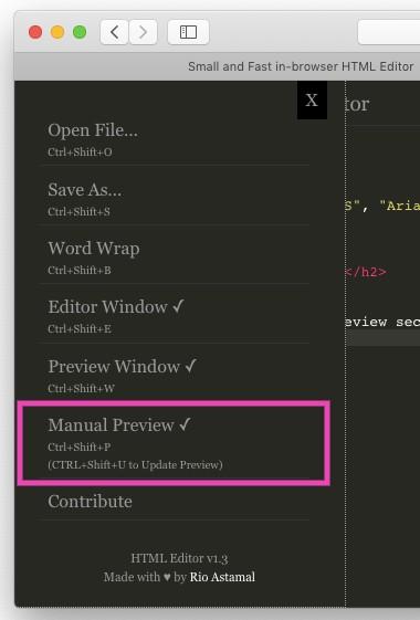 HTML Editor Menu Preview