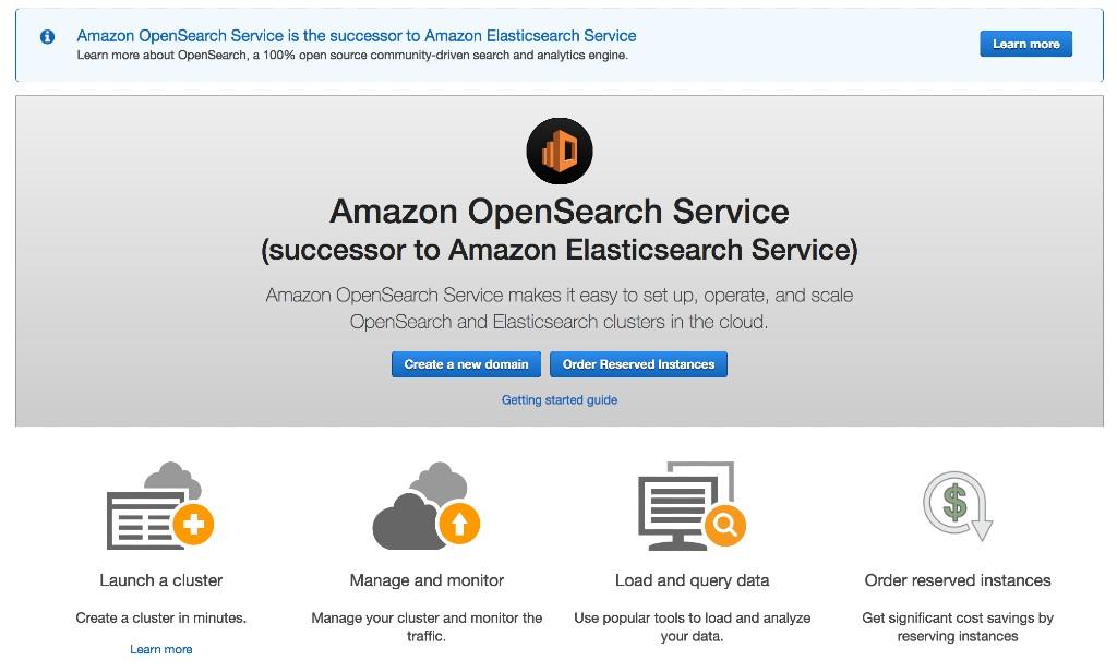 Amazon OpenSearch Service Console